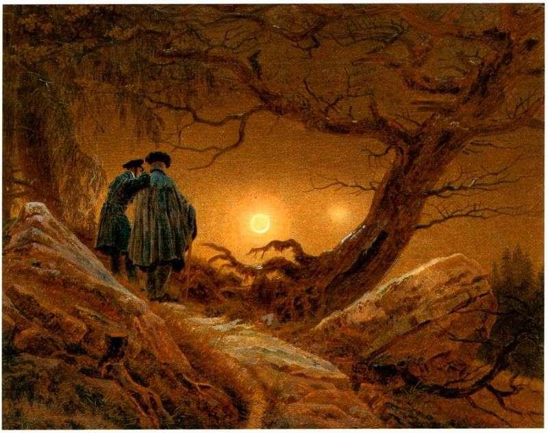 Dwoje, kontemplując księżyc   Caspar David Friedrich