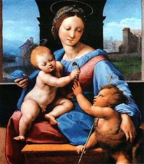 Madonna z Dzieciątkiem z małym Janem Chrzcicielem   Rafael Santi