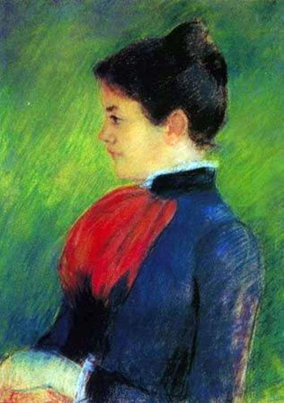 Kobieta w niebieskiej bluzce z czerwonym krawatem   Mary Cassat