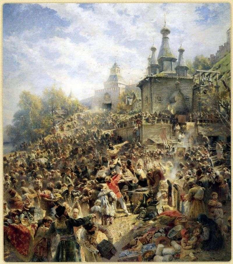 Minin na Placu Niżnym Nowogrodzie, ponaglający ludzi do darowizny   Władimir Makowski