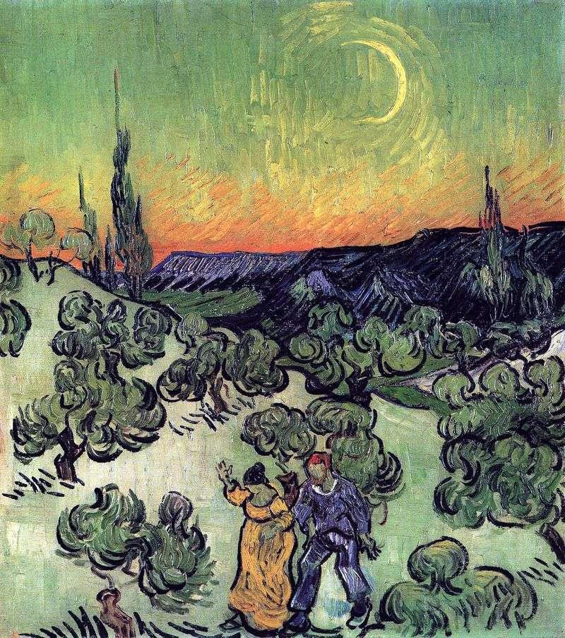 Krajobraz z parą Spacerując i Półksiężycem Księżyca   Vincent Van Gogh