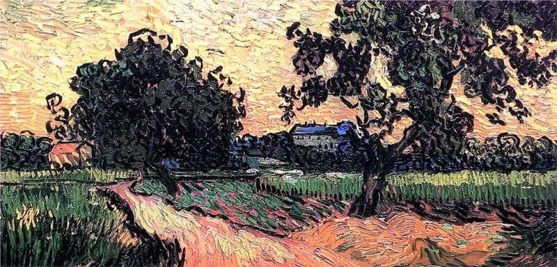 Pejzaż z Chateau Over at Sunset   Vincent Van Gogh