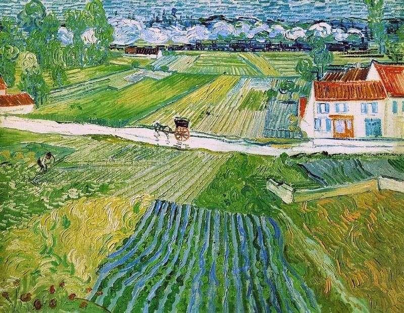 Krajobraz z załogą i pociągiem w tle (Krajobraz w Auvers po deszczu)   Vincent Van Gogh