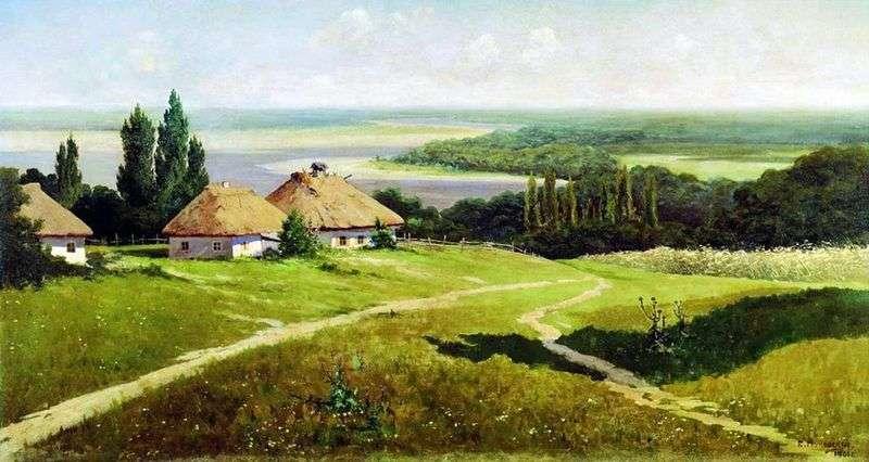 Ukraiński krajobraz z chatami   Vladimir Makovsky