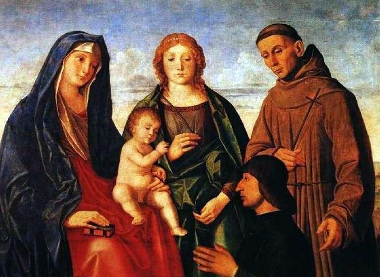 Maria z dzieckiem, święty Franciszek z Asyżu, święty i donator   Vincenzo Catena