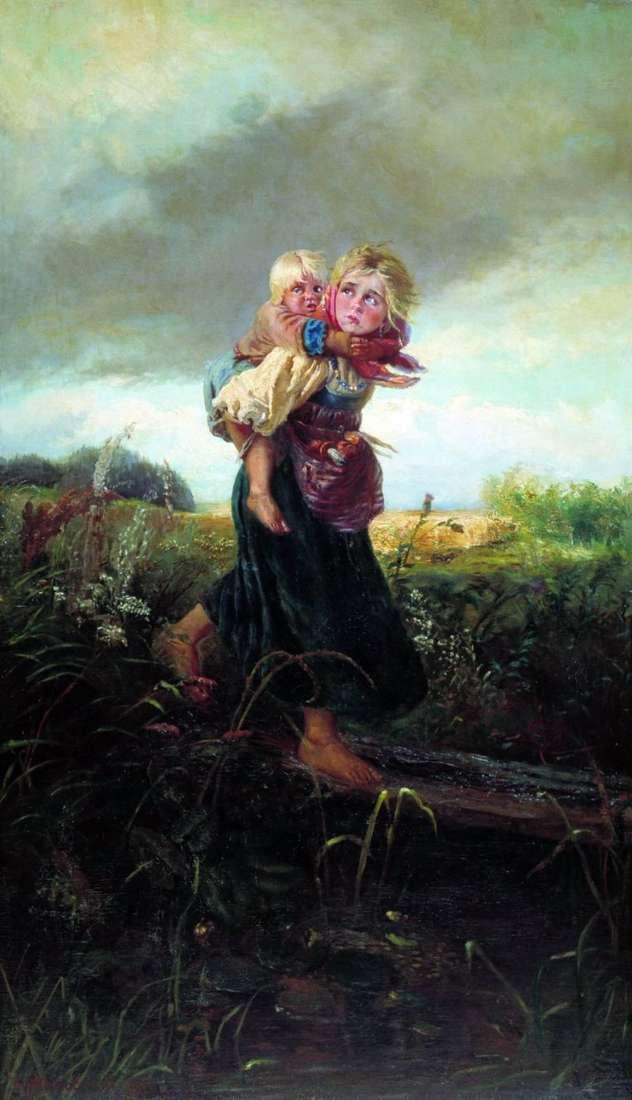 Dzieci uciekające przed burzą   Konstantin Makowski