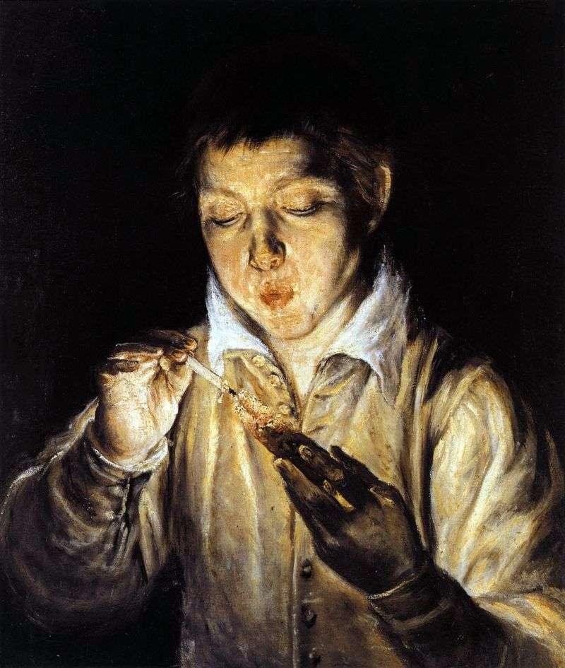Chłopiec wachlujący drzazga   El Greco
