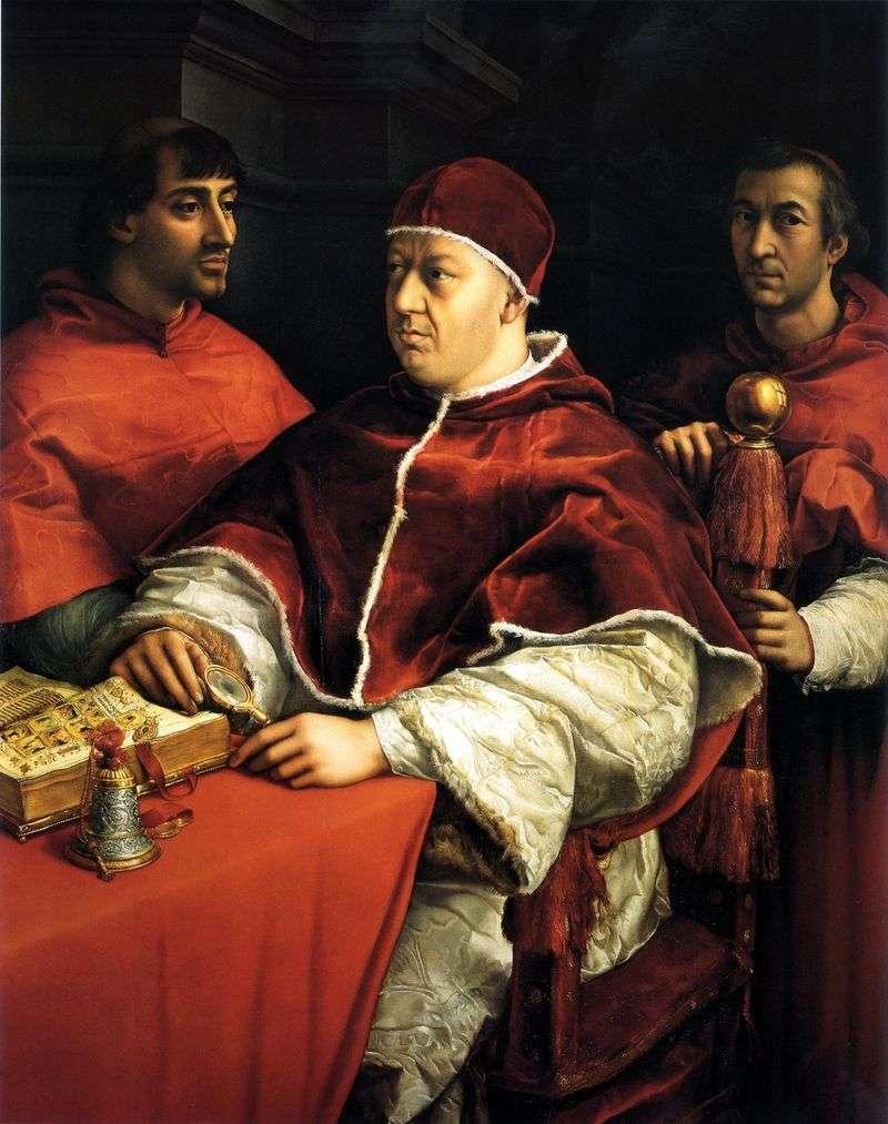 Portret Leo X z kardynałami Giuliano Medici i Luigi Rossi   Rafael Santi