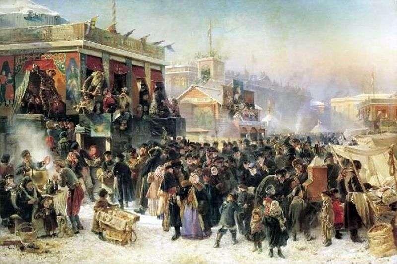 Uroczystości podczas zapusty na placu Admirałteckim w Petersburgu   Konstantin Egorovich Makovsky