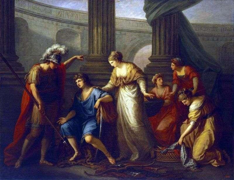 Hector wzywa Paryż do bitwy   Angelika Kaufman