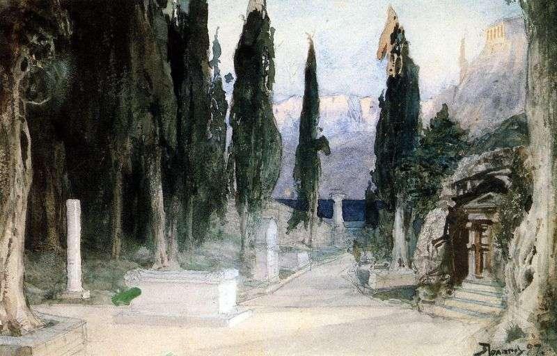 Cmentarz wśród cyprysów   Wasilij Polenow