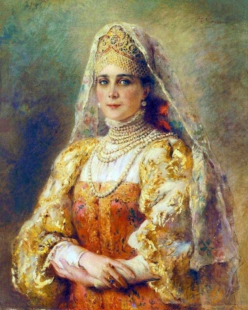 Portret księżniczki Zinaidy Nikolaewny Jusupowej w rosyjskim kostiumie   Konstantin Makowski