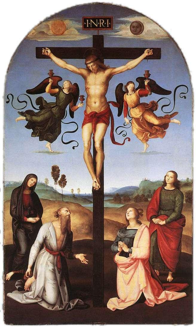 Ukrzyżowanie z Maryją Panną, Świętymi i Aniołami   Rafael Santi