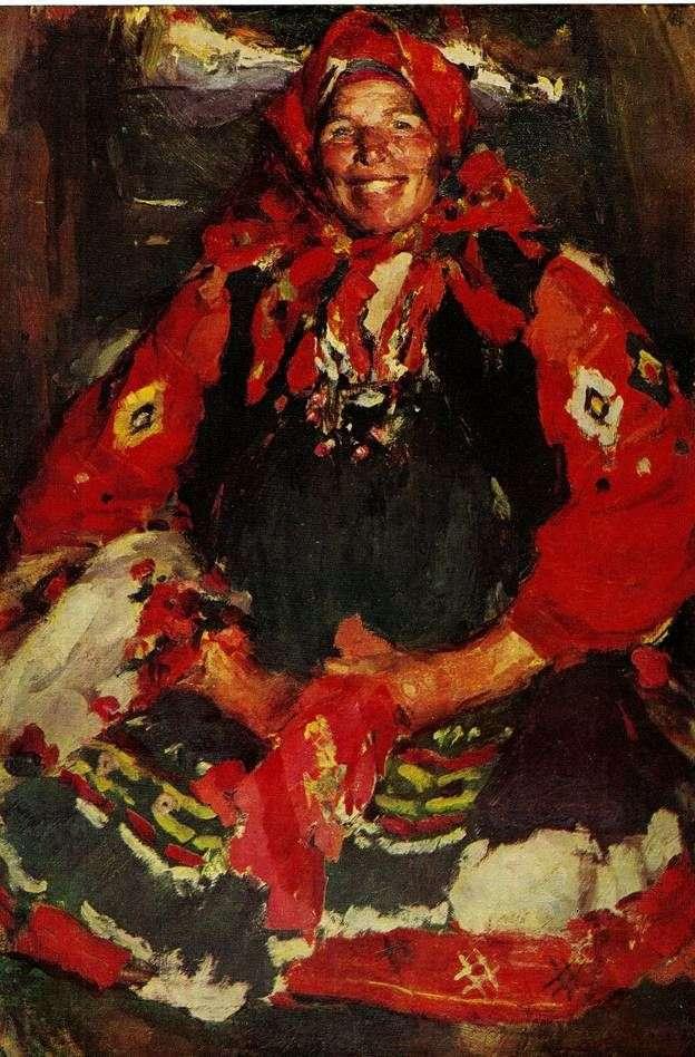 Chłopska kobieta w zielonym fartuchu   Abram Arkhipov