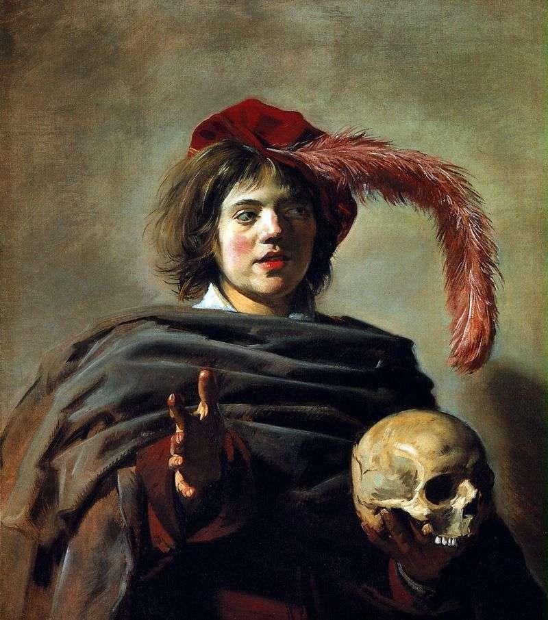 Portret młodego mężczyzny z czaszką (Vanitas)   Frans Hals