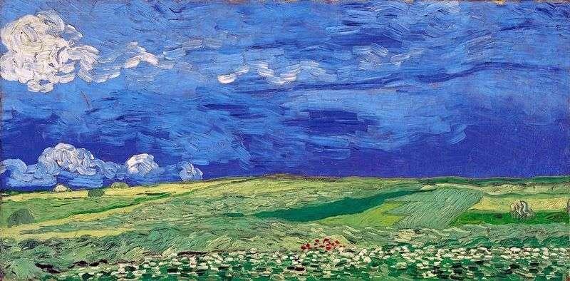 Pole pszenicy pod zachmurzonym niebem   Vincent Van Gogh