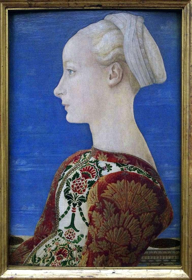 Portret młodej kobiety w lewym profilu   Antonio del Pollaiolo