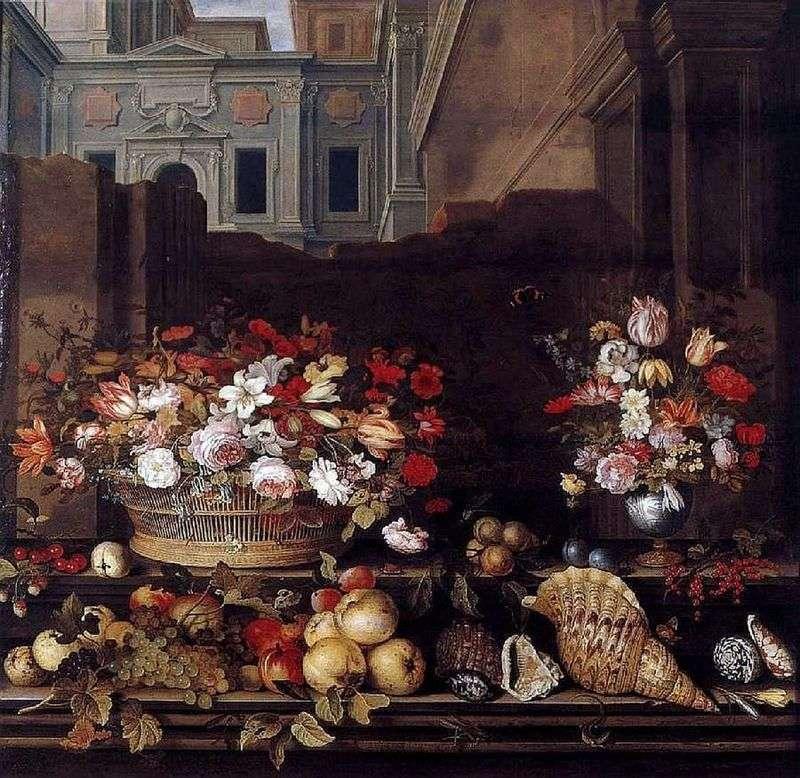 Martwa natura z kwiatami, owocami i muszlami   Balthazar van der Ast