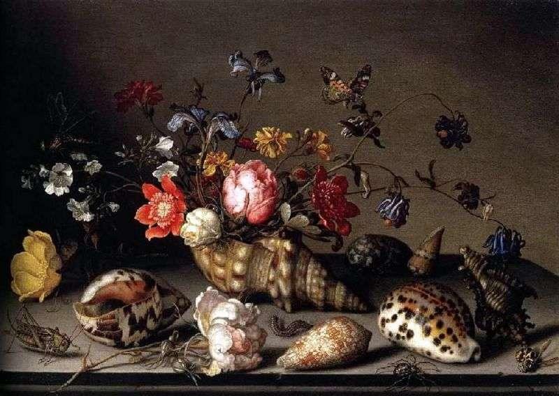 Martwa natura: kwiaty, muszle i owady   Balthazar van der Ast