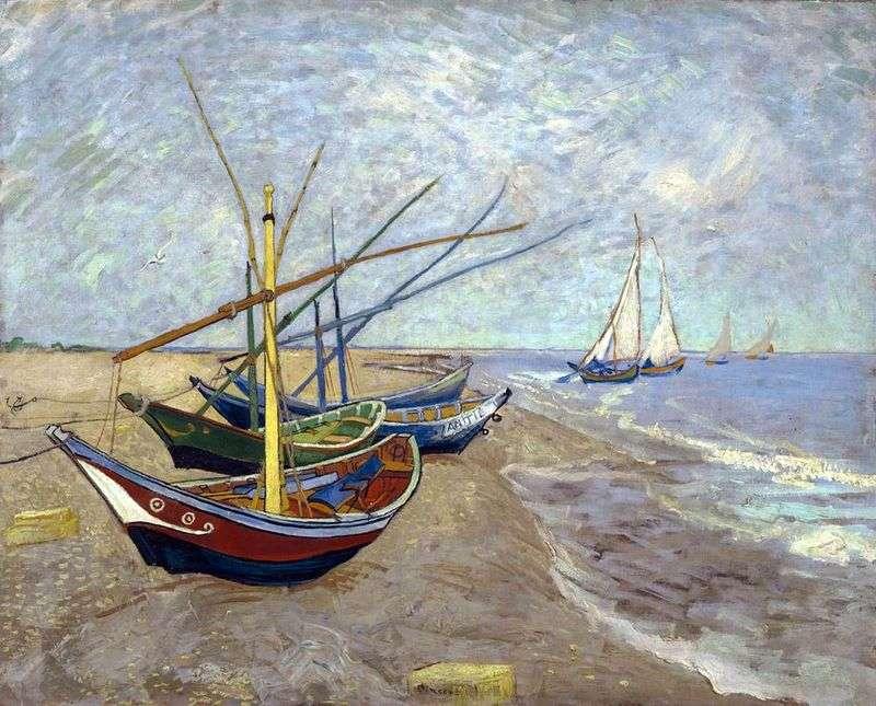 Łodzie rybackie na plaży od Sainte Marie   Vincent Van Gogh