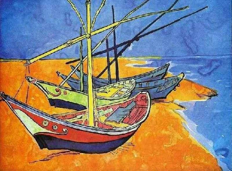 Łodzie rybackie na plaży od Saint Marie (akwarela)   Vincent Van Gogh