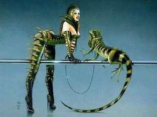 Twins of the Lizardmen World   Chris Achilleos