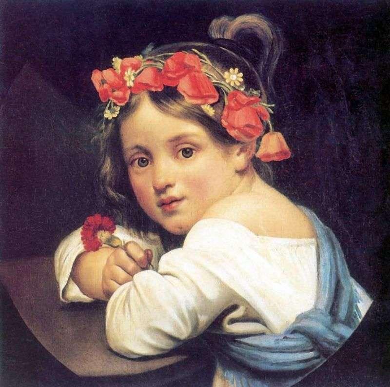 Dziewczyna w makowym wieńcu   Orest Kiprensky