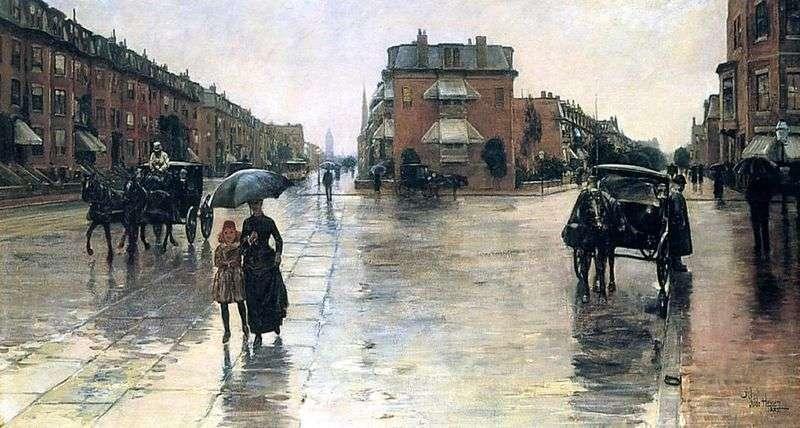 Deszczowy dzień w Bostonie   Dziecko Hassam