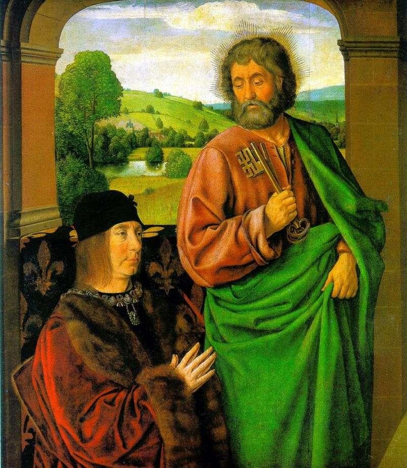 Pierre II, książę Bourbon ze sv. patrona Apostoła Piotra   Jean Hey