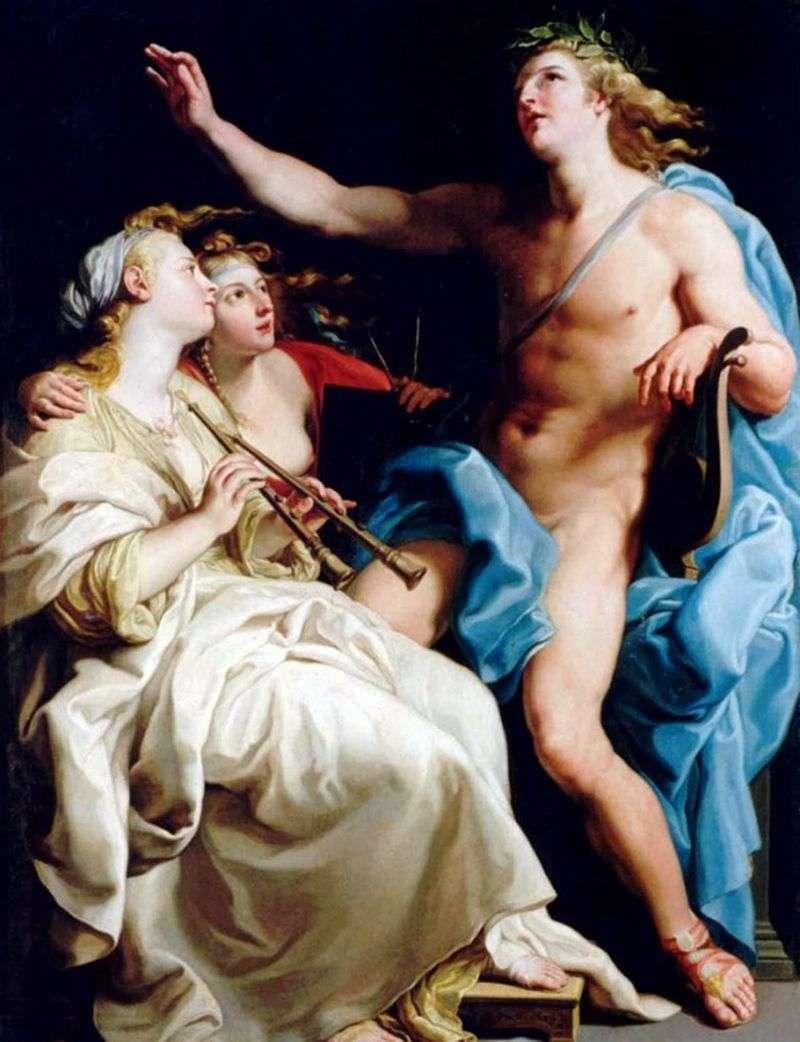 Apollo i dwie muzyczki   Batoni Pompeo