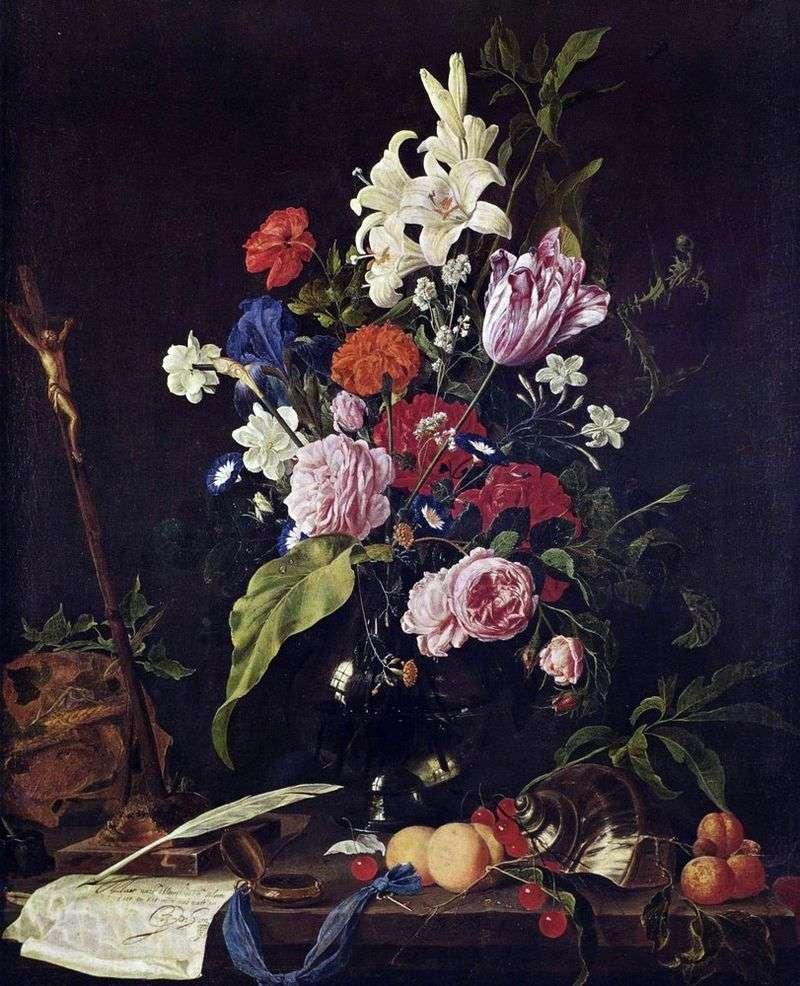 Kwiaty w szklanym wazonie i owocach   Jan Davids de Hem