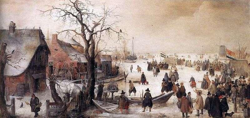 Zimą na kanale   Averkamp Hendrik