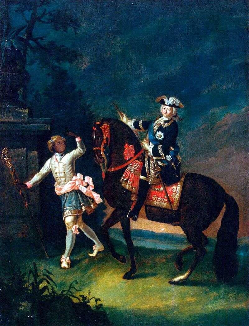 Portret jeździecki Elizabeth Petrovna z arapchon   Georg Christopher Groot