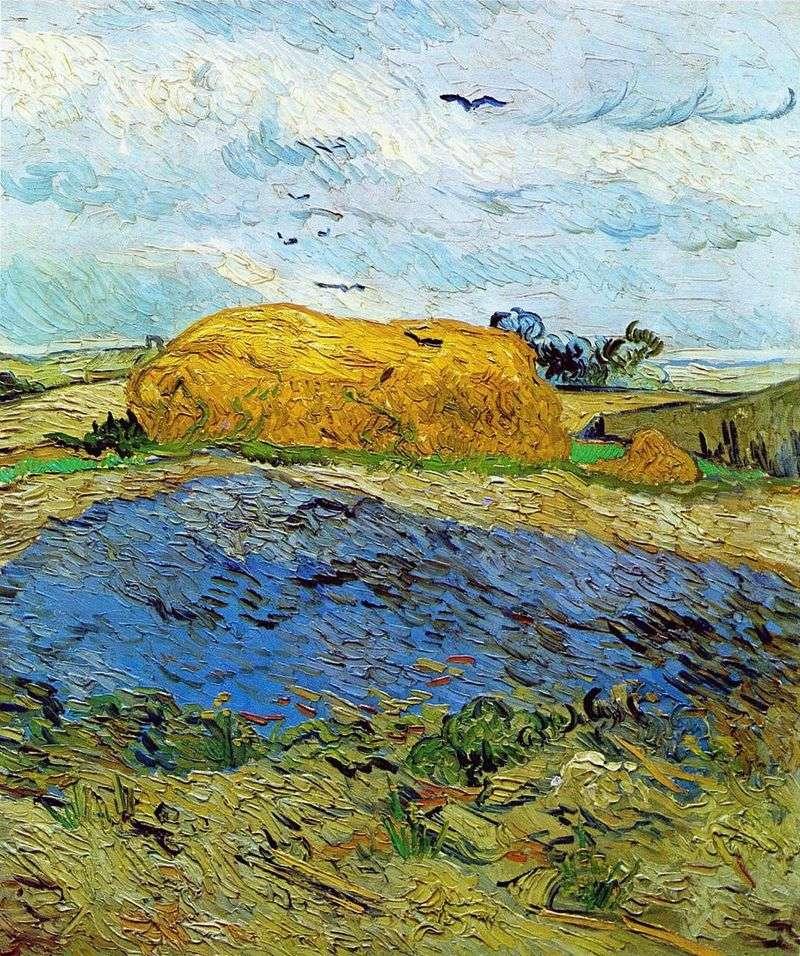Stogi siana pod deszczowym niebem   Vincent Van Gogh
