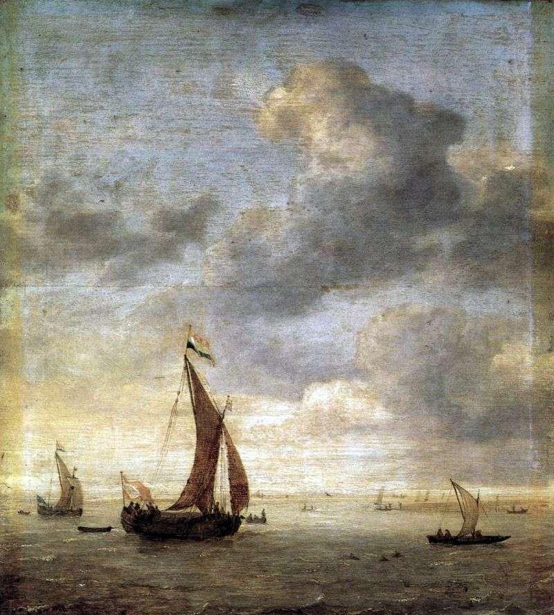 Żeglując po morzu w wietrzny dzień   Jan Porsellis