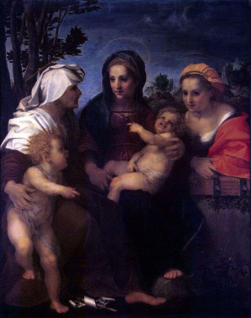 Madonna z Dzieciątkiem, Święta Katarzyna, Elżbieta i Jan Chrzciciel   Andrea del Sarto