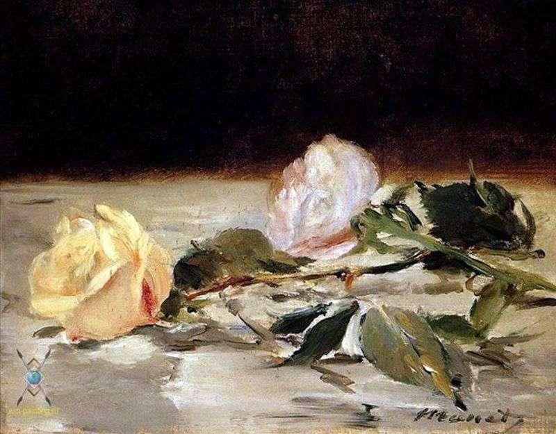 Dwie róże na narzucie   Edouard Manet