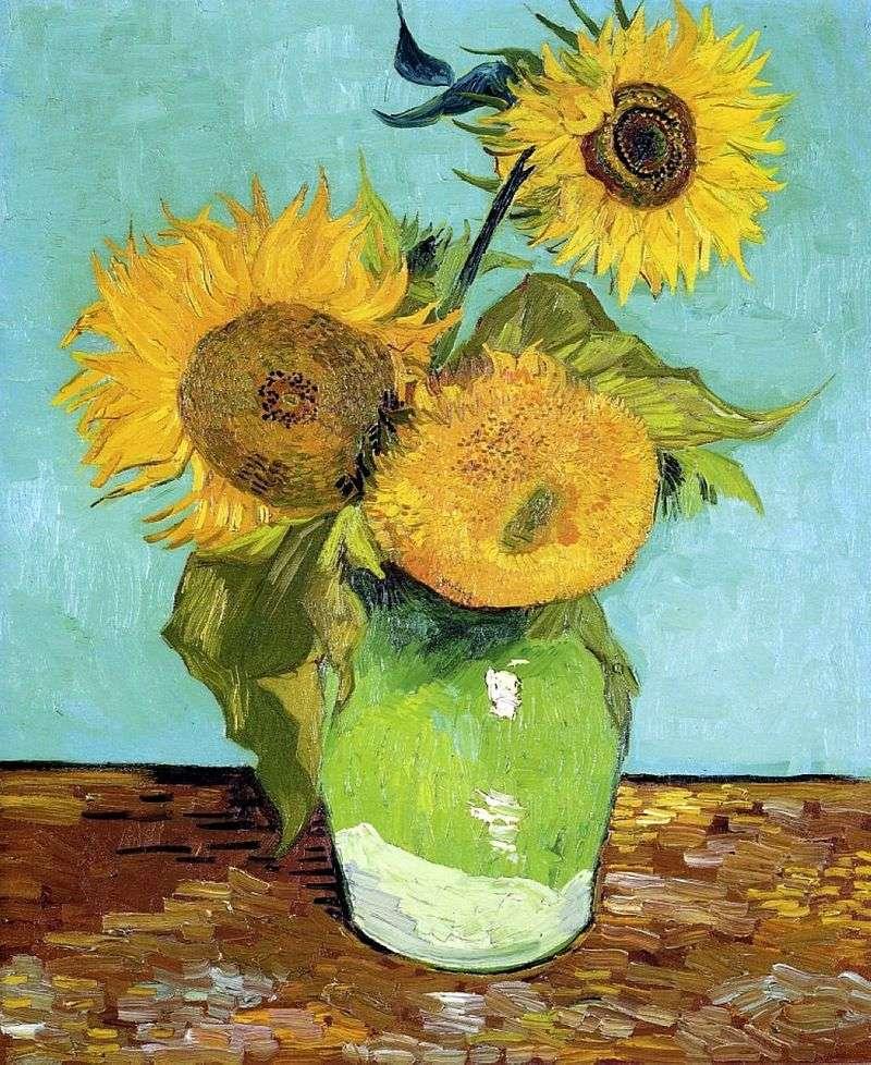 Trzy słoneczniki w wazonie   Vincent Van Gogh