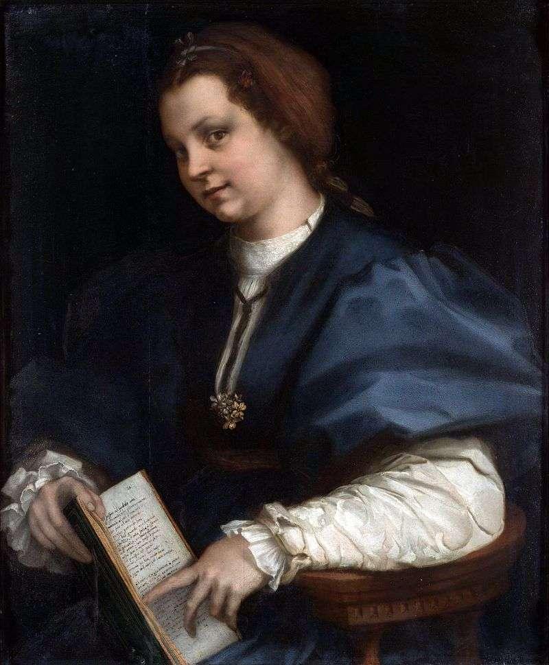 Portret dziewczynki z książką wierszy Petrarki   Andrea del Sarto