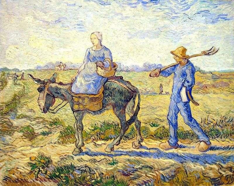 Rano: Wyjazd do pracy (przez Millet)   Vincent Van Gogh