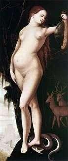 Roztropność (Kobieta z lustrem i wężem)   Hans Baldung