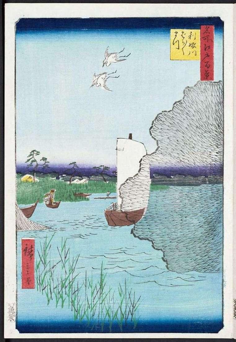 Barabara Matsu na wybrzeżu Tonegawa   Utagawa Hiroshige