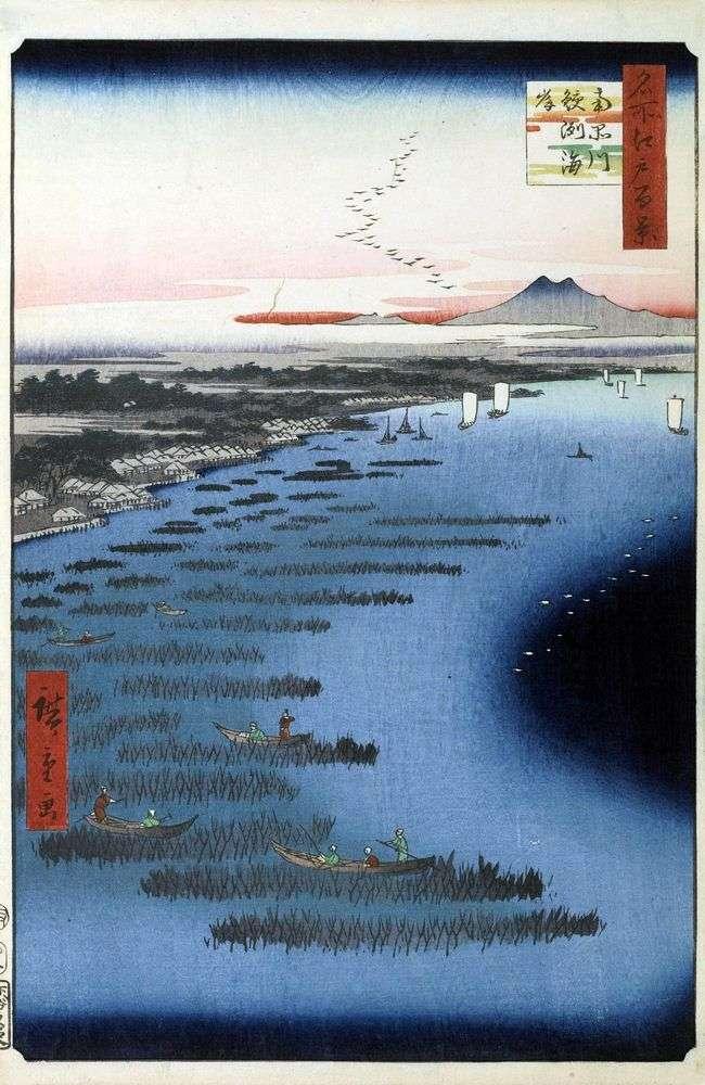 Samezukaigan Beach i South Shinagawa   Utagawa Hiroshige