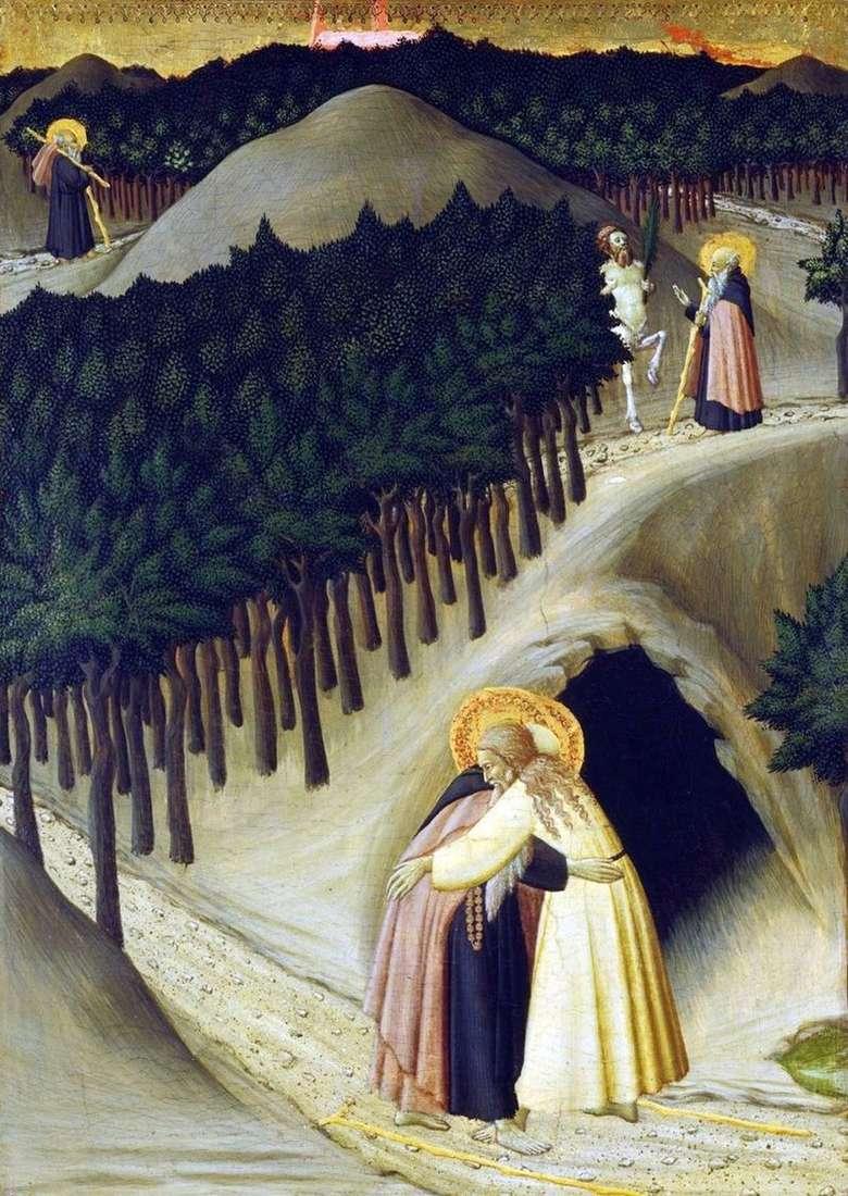 Spotkanie sv. Anthony z sv. Pavlo   Stefano Sassetta