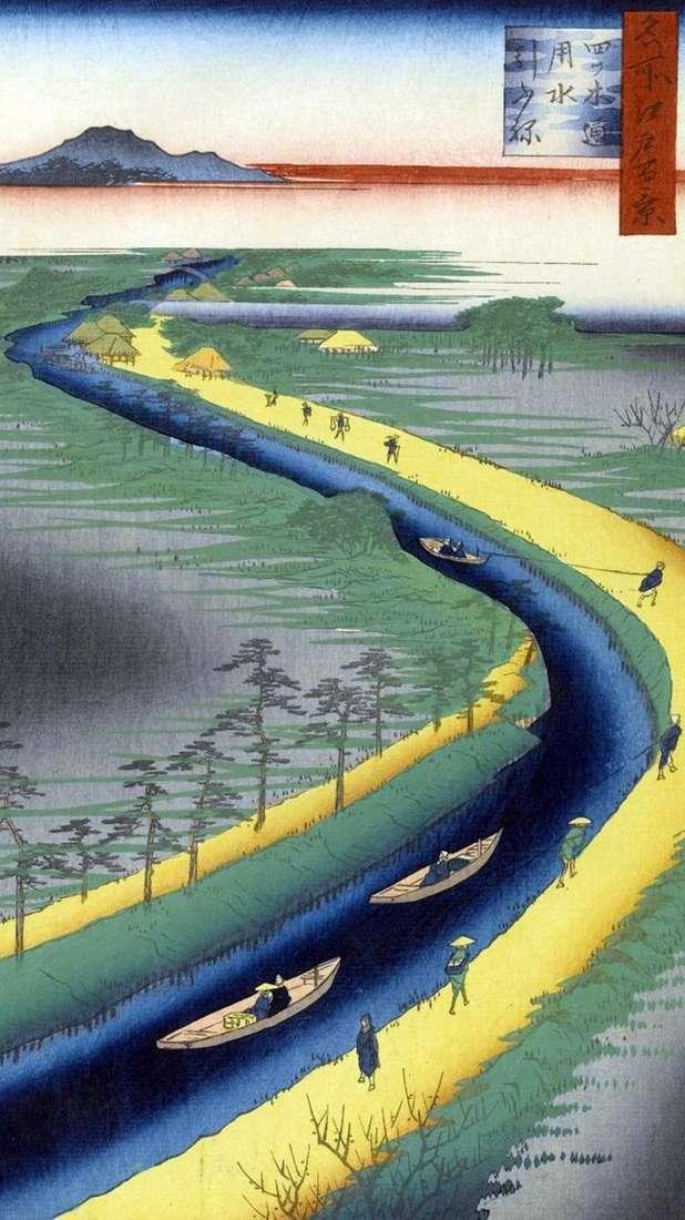 Holowanie łodzi na kanale Etsugi Dori   Utagawa Hiroshige