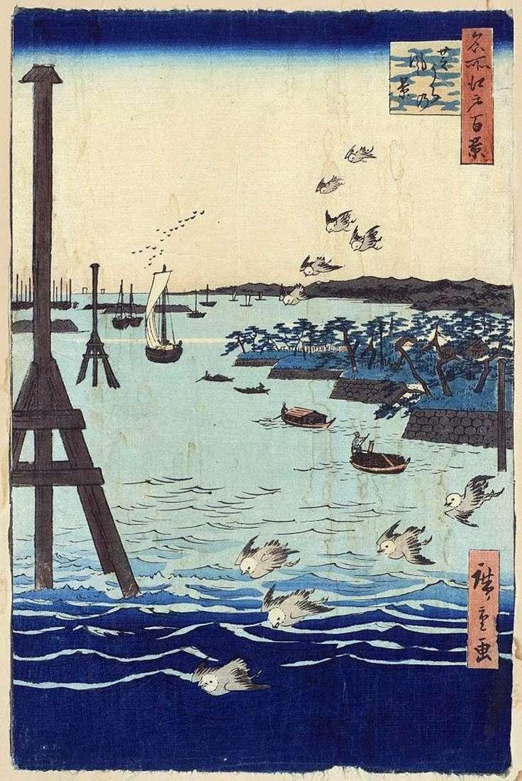 Zatoka w Sibaura. Malarstwo, grafika, motywy japońskie, krajobrazy   Utagawa Hiroshige