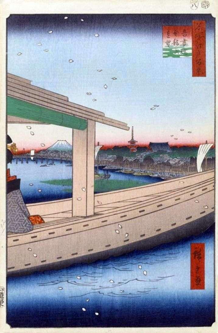 Widok na klasztor Kinryuzan i most Azumabasi   Utagawa Hiroshige