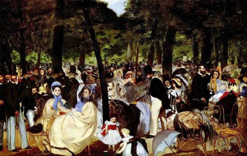 Muzyka w ogrodzie Tuileries   Edouard Manet