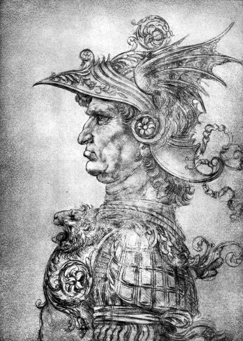 Wojownik w kasku i zbroi   Leonardo da Vinci