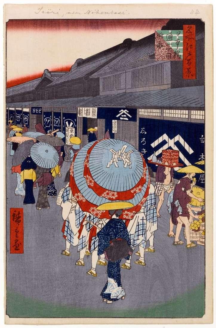 Widok pierwszej ulicy w Nihonbashi   Utagawa Hiroshige